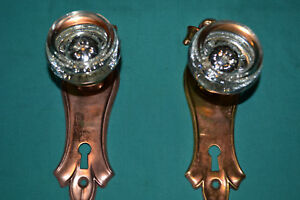 One Set Of Brass And Glass Door Knobs East Lake Antique Architectural 83