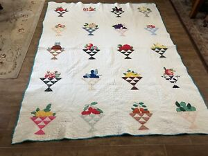 Queen Size Vintage Handmade Quilt 88 X 70 Fruit Basket Applique Hand Quilted