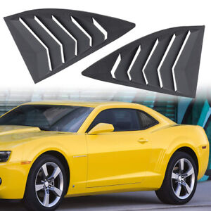 2pcs Black Quarter Side Window Louvers Scoop Cover For 2010 2015 Chevy Camaro