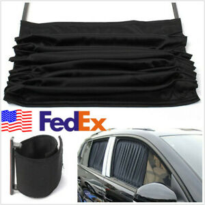 2 Pcs Adjustable Car Suv Window Windscreen Mesh Sunshade Curtain Black Us Stock