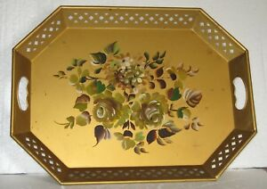 Vintage Nashco Hand Painted 20 Gold Octagonal Toleware Serving Tray