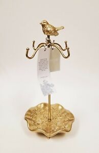 New Shabby chic Gold Tone Metal Bird with 4 Hanger Stand Jewelry Holder Stand
