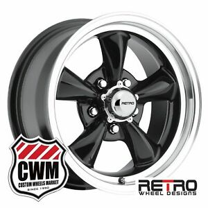 15 Inch 15x7 930b Black Wheels For 1st Gen Pontiac Gto 1964 1967 Rims