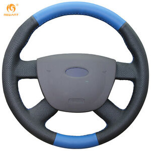 Black Blue Genuine Leather Steering Wheel Cover For Ford Focus 2 2005 2011 54