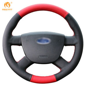 Black red Leather Car Steering Wheel Cover For Ford Focus 2 2005 2011 21