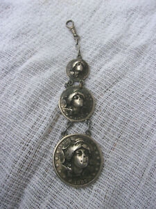 Awesome Handmade Watch Fob Chain 1907 Liberty Silver Coins Embossed Look