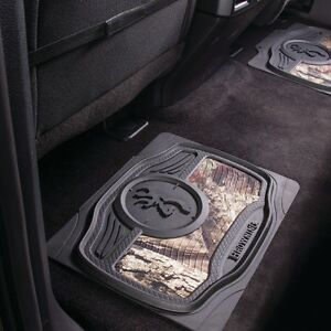 Browning Buckmark Mossy Oak Camo Rear Floor Mat Auto Car Truck Pair
