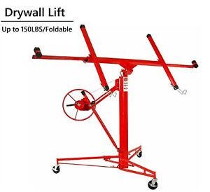 Red Drywall Lift 11 panel Lifter Tool Sheetrock Hanging Rolling Caster Hoist