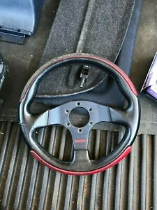 Vintage Momo Leather Steering Wheel Type D 30 Black Leather Red Retro