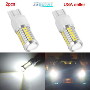 2x White 7443 7440 33smd Led Light Bulbs Tail Brake Stop Backup Reverse T20 12v