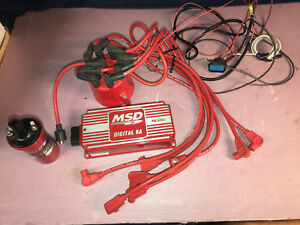 Used Msd Digital 6a Pn 6201 Ignition Box Coil Distributor Cap Plug Wires