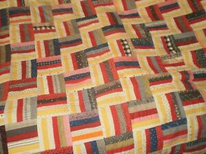 Antique Vintage Log Cabin Quilt Handmade Unique Colorful Paisley Backing Nice