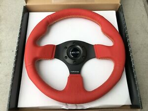 Nrg Race Red Leather With Yellow Stitching Aluminum Steering Wheel St 012rr Ys