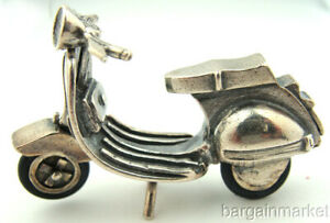 Miniature Sterling Silver Vespa Style Moped Scooter Bike 103