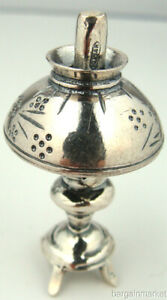 Miniature Sterling Silver Vintage Style Oil Lamp 056