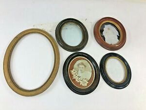 5 Vintage Oval Picture Frame Lot Wood Glass Antique Gesso Victorian Old Wall Art