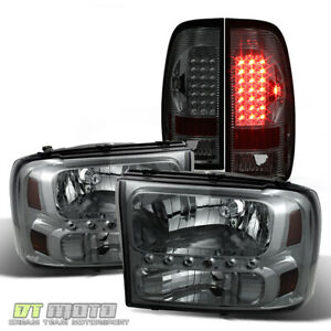 Smoked 1999 2004 Ford F250 F350 F450 F550 Super Duty Headlights led Tail Lamps