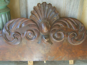 Antique French Wood Pediment Architectural Salvage Walnut Veneer Probably 19th