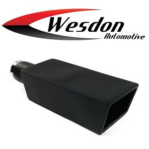 Exhaust Tip 4 00 X 3 25 Od X 14 00 Long 2 25 Inlet Black Stainless Square Res