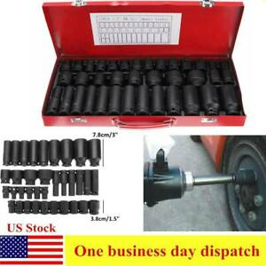 35pcs 1 2 Inch Drive Deep Impact Socket Tool Set Metric Garage Workshop Tools