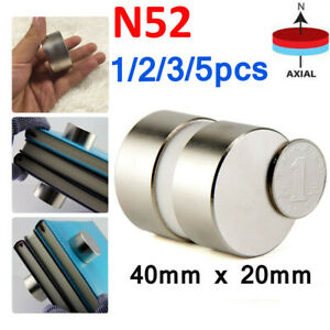 1 5 Pcs N52 Large Neodymium Rare Earth Magnet Big Super Strong Huge 40mm 20mm