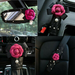 Camellia Flower Car Gear Shift Cover Seat Belt Cover Handbrake Cover Red