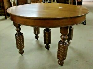 Round Oak Dining Table Heavy Thick Rope Twist 5 Leg Spectacular Vintage