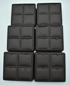 Lot Of 6x Brown Leather 4 Grid Pendant Jewelry Display Box For Necklace