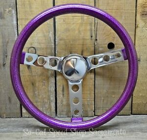 Vtg Style Purple Metalflake Steering Wheel Rat Hot Rod Custom Bomb Lowrider Hole