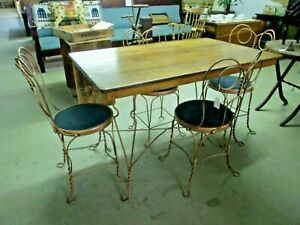Dining Set Ice Cream Oak Top Wrought Iron Legs Table With 4 Chairs 5 Piece Set