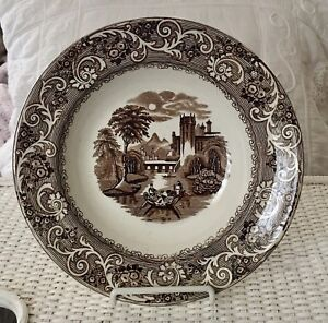 Antique Ironstone Brown Transferware 9 25 Rimmed Soup Plate Staffordshire Rhine