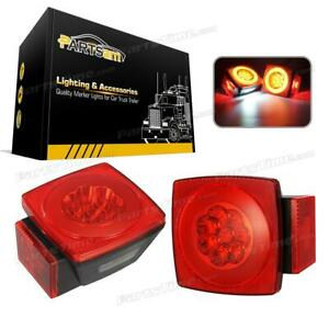 2x Waterproof Square Red Stop Turn Tail License Plate Light For Truck Trailer Rv