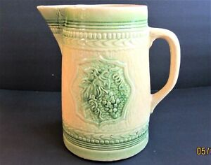 Vintage Hand Painted Pottery Large Ewer Pitcher