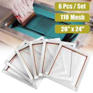 6 Pack 110 Mesh Count Silk Screen Printing Frames Aluminum Screens 20 X 24