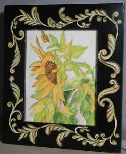 Vintage Helen Hume Pennsylvania Folk Art Picture Frame Sunflower Painting Wow