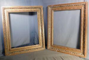 Vintage Pair Hand Carved Baroque Gilt Wood Florentine Picture Frame 16x20 Almost