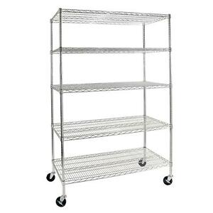 Commercial 5 level Shelving With Wheels Industrial quality Steel 48 X 24 X 72
