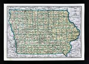 1944 Geographical Map Iowa Des Moines Council Bluffs Marion Fort Dodge Davenport