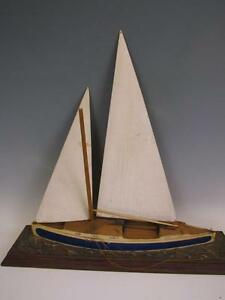 Beautiful Antique Hand Made Ship Model Of A Sailing Yacht
