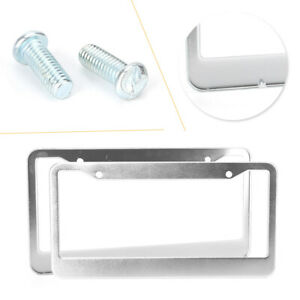 Stainless Steel Metal Chrome License Plate Frame Tag Cover Screw Caps 2pcs