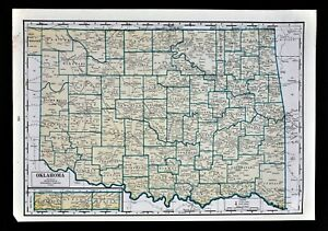 1944 Geographical Map Oklahoma City Tulsa Guthrie Tahlequah Stillwater Muskogee