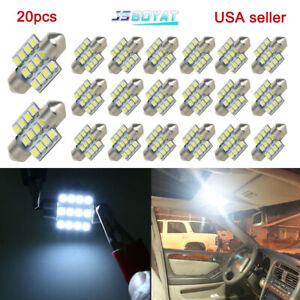 20x Cool White 31mm 12smd 3528 Festoon Led Dome Interior Light Bulb De3175 3022