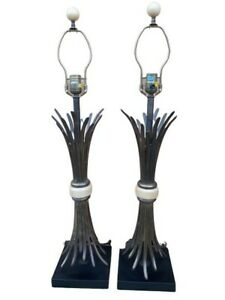 Pair Chapman 1985 Bronze Sheaf Wheat Table Lamps Hollywood Regency Mcm