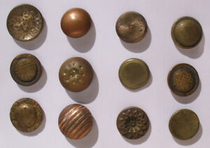 12 Assorted Brass Copper Victorian Antique 5 8 Round Shank Buttons Lot A
