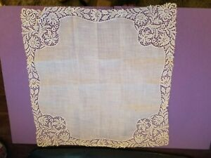 Vintage Needle Lace Embroidered Linen Wedding Bridal Handkerchief
