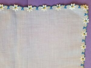 Vintage Linen Madeira Hand Embroidered Daisy Floral Handkerchief Hanky 10