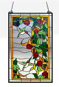 Tiffany Style Stained Glass Window Panels Hummingbirds 32 Tall X 20 Wide Pair
