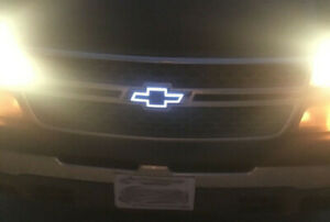 Illuminated Led Front Grille Bowtie Black Emblem Badge Light Up Halo Fits Chevy