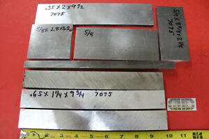 8 Piece Aluminum 7075 T6 Flat Bar Assortment Solid Plate Mill Stock 6 Lbs Dr4 2