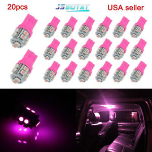 20x Pink Purple T10 Wedge 10smd Led Interior Light Bulb W5w 2825 158 168 192 194